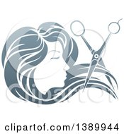 Clipart Of A Womans Head In Profile With Long Hair And Scissors Snipping Off A Lock Royalty Free Vector Illustration