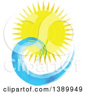 Clipart Of A Watercolor Sun Shining Over Waves Royalty Free Vector Illustration by KJ Pargeter