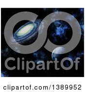 3d Fictional Planet And Spiral Galaxy