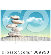 Clipart Of A 3d Stack Of Balanced Stones On Sand Against Sky Royalty Free Illustration by KJ Pargeter