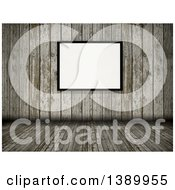 Clipart Of A 3d Old Wood Room Interior With A Blank Picture Frame Royalty Free Illustration by KJ Pargeter