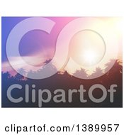 Clipart Of A Background Of 3d Palm Trees With Flares At Sunset Royalty Free Illustration
