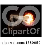 Clipart Of A 3d Gun With An Exploding Barrel On Black Royalty Free Illustration