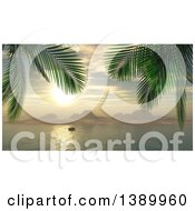 Clipart Of A 3d Yacht In A Bay At Sunset With Palm Trees Framing The Scene Royalty Free Illustration by KJ Pargeter