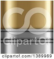 Clipart Of A Background Of Gold And Silver Royalty Free Vector Illustration