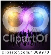 Clipart Of A Silhouetted Crowd Of People Dancing Under Colorful Fireworks Royalty Free Vector Illustration by KJ Pargeter