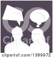 Clipart Of A White Silhouetted Couple Talking Over Purple Royalty Free Vector Illustration