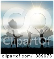 Clipart Of Silhouetted Children Playing In The Country Side Under A Sunny Sky Royalty Free Vector Illustration