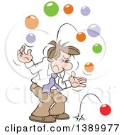Clipart Of A Cartoon Brunette White Business Man With Too Many Balls In The Air Royalty Free Vector Illustration