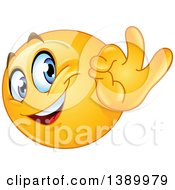Clipart Of A Cartoon Yellow Smiley Face Emoji Emoticon Gesturing Ok Royalty Free Vector Illustration