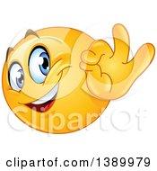 Clipart Of A Cartoon Yellow Smiley Face Emoji Emoticon Gesturing Ok Royalty Free Vector Illustration