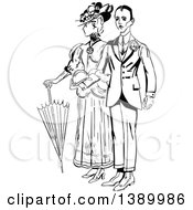 Clipart Of A Vintage Black And White Couple Standing Arm In Arm Royalty Free Vector Illustration by Prawny Vintage