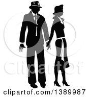 Clipart Of A Vintage Black And White Couple Holding Hands Royalty Free Vector Illustration by Prawny Vintage