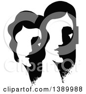 Clipart Of A Vintage Black And White Abstract Couple Royalty Free Vector Illustration by Prawny Vintage