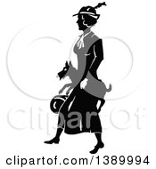 Clipart Of A Vintage Black And White Woman Carrying Her Dog Royalty Free Vector Illustration by Prawny Vintage