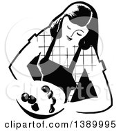 Clipart Of A Vintage Black And White Woman Wearing An Apron And Holding A Plate Royalty Free Vector Illustration by Prawny Vintage