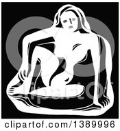 Clipart Of A Vintage Black And White Sculpture Of A Woman Royalty Free Vector Illustration