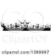Clipart Of A Vintage Black And White Orchestra And Conductor Royalty Free Vector Illustration by Prawny Vintage