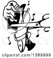 Vintage Black And White Hand Holding A Fish And Cutting With Music Notes