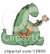 Big Green Musical Dinosaur Singing And Strumming A Guitar Clipart Illustration by djart