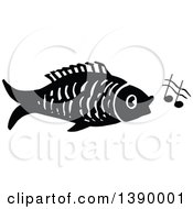 Vintage Black And White Fish Singing