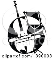 Clipart Of A Vintage Black And White Violin Or Viola Trumpet And Music Stand Royalty Free Vector Illustration