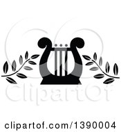 Clipart Of A Vintage Black And White Lyre With Branches Royalty Free Vector Illustration