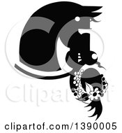 Clipart Of A Vintage Black And White Horse Biting A Hat Royalty Free Vector Illustration by Prawny Vintage