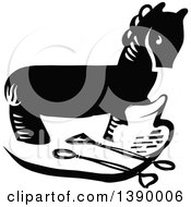 Clipart Of A Vintage Black And White Sculpture Of A Horse And Tools Royalty Free Vector Illustration by Prawny Vintage