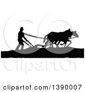 Vintage Black And White Silhouetted Farmer Ploughing With Horses