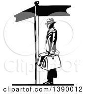 Clipart Of A Vintage Black And White Man Holding Luggage By A Sign Post Royalty Free Vector Illustration