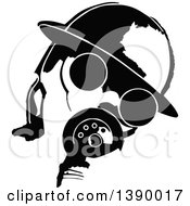Clipart Of A Vintage Black And White Man Wearing A Gas Mask Royalty Free Vector Illustration