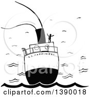 Clipart Of Vintage Black And White People On A Boat Ss Happiness Royalty Free Vector Illustration by Prawny Vintage