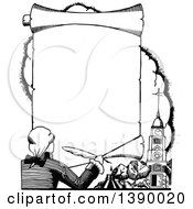 Clipart Of A Vintage Black And White Man Holding A Feather Quill Over A Church And Banner Royalty Free Vector Illustration