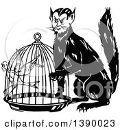 Clipart Of A Vintage Black And White Man Cat And Canary Woman In A Cage Royalty Free Vector Illustration
