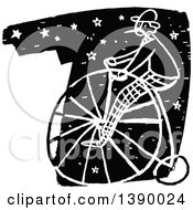 Vintage Black And White Man Riding A Penny Farthing Bicycle Over Stars