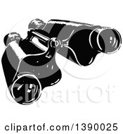 Clipart Of A Vintage Black And White Pair Of Binoculars Royalty Free Vector Illustration