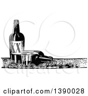 Clipart Of A Vintage Black And White Cup And Bottles Of Alcohol Royalty Free Vector Illustration by Prawny Vintage