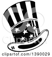 Clipart Of A Vintage Black And White American Top Hat Royalty Free Vector Illustration by Prawny Vintage