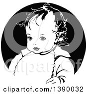 Clipart Of A Vintage Black And White Baby Wearing A Bib Royalty Free Vector Illustration by Prawny Vintage