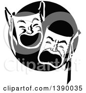 Clipart Of Vintage Black And White Theater Masks Royalty Free Vector Illustration