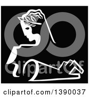 Clipart Of A Vintage Black And White Female Sculpture And Arm Royalty Free Vector Illustration