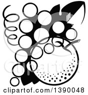 Clipart Of A Vintage Black And White Bunch Of Grapes And Apple Royalty Free Vector Illustration