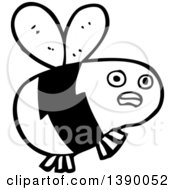Clipart Of A Cartoon Black And White Lineart Bee Royalty Free Vector Illustration