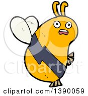Clipart Of A Cartoon Bee Royalty Free Vector Illustration