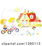 Clipart Of A Caucasian Boy And Girl Riding Bikes In Front Of Their Home On A Spring Day Royalty Free Vector Illustration