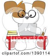 Cartoon Studious Puppy Dog Using A Laptop Computer At A Desk