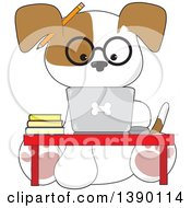 Clipart Of A Cartoon Studious Puppy Dog Using A Laptop Computer At A Desk Royalty Free Vector Illustration