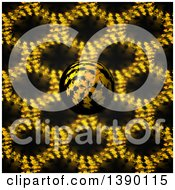 Clipart Of A 3d Fractal Sphere Ball Over A Pattern Royalty Free Illustration