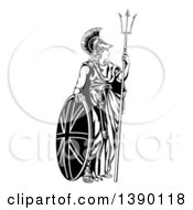 Clipart Of A Lady Britannia Personification Of Britain Standing With A Union Jack Shield And Holding A Trident Royalty Free Vector Illustration by AtStockIllustration